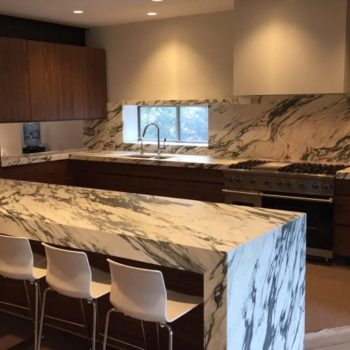 calacatta white marble kitchen island top